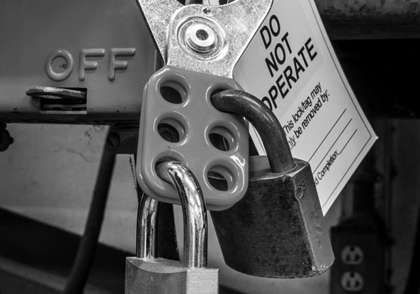 lock out tag out gray scale